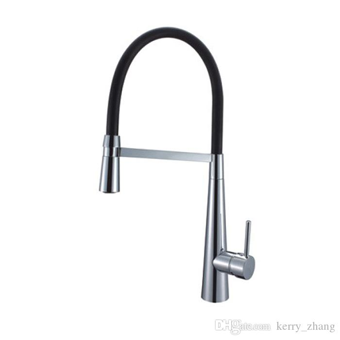 2018 Black Hose Kitchen Faucet Single Handle Pull Out Sink Mixer 360 Degree  Swivel Turntable Brass Tap Universal Shower Head From Kerry_zhang, ...