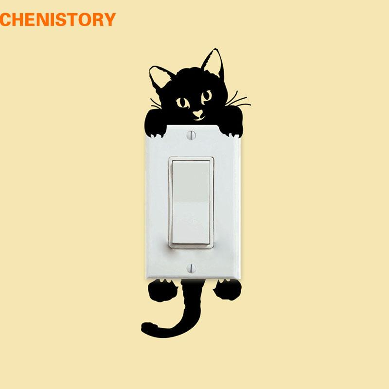 Diy Black Cat Switch Sticker Pvc Carton Removable Wall Decal Kids Room  Light Parlor Decor For Home Wall Decoration Sticker Wall Decals Sticker  Wall Decor ...