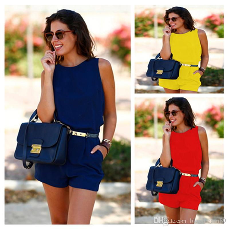c09b3966cd3 2019 Jumpsuits Women Rompers With Belt Sexy Romper Plus Size Fashion  Jumpsuits Back Empty Waist Pocket Womens Shorts Jumpsuit For Women Free  Ship From ...