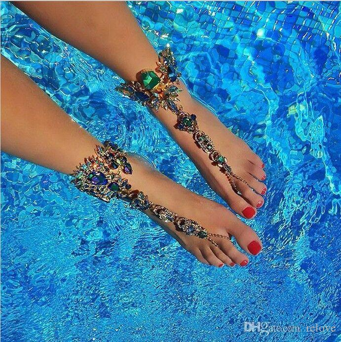 2017 Ankle Bracelet Wedding Barefoot Sandals Beach Foot Jewelry Sexy Pie Leg Chain Female Boho Crystal Anklet New Fashion