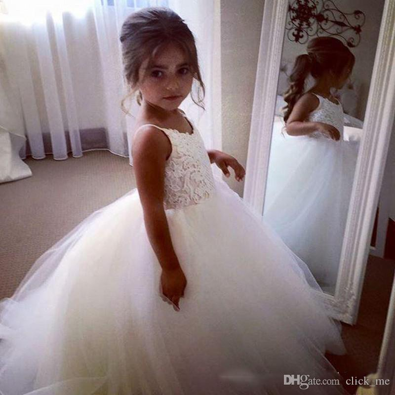 Ivory Flower Girls Dresses For Weddings Tulle Lace Top Spaghetti Formal Kids Wear For Party Communion Dress Tulle Cheap Toddler Pgeant Gowns