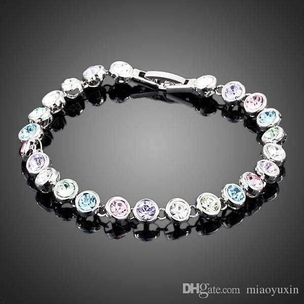 Neoglory Jewelry Swarovski Elements White Gold Color Stellux Austrian Crystal Multicolour Round End to End Bracelet