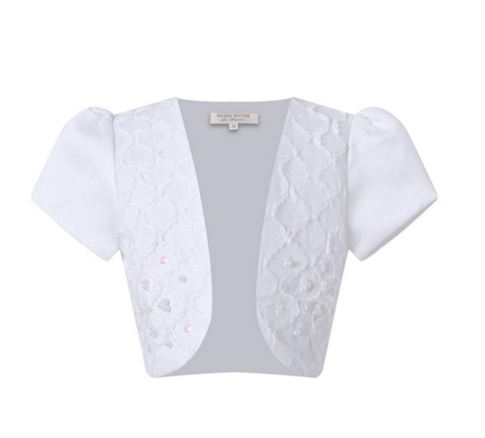 Hot New Kids Girls Satin Lace Short Sleeves Bolero Jacket Shrug ...