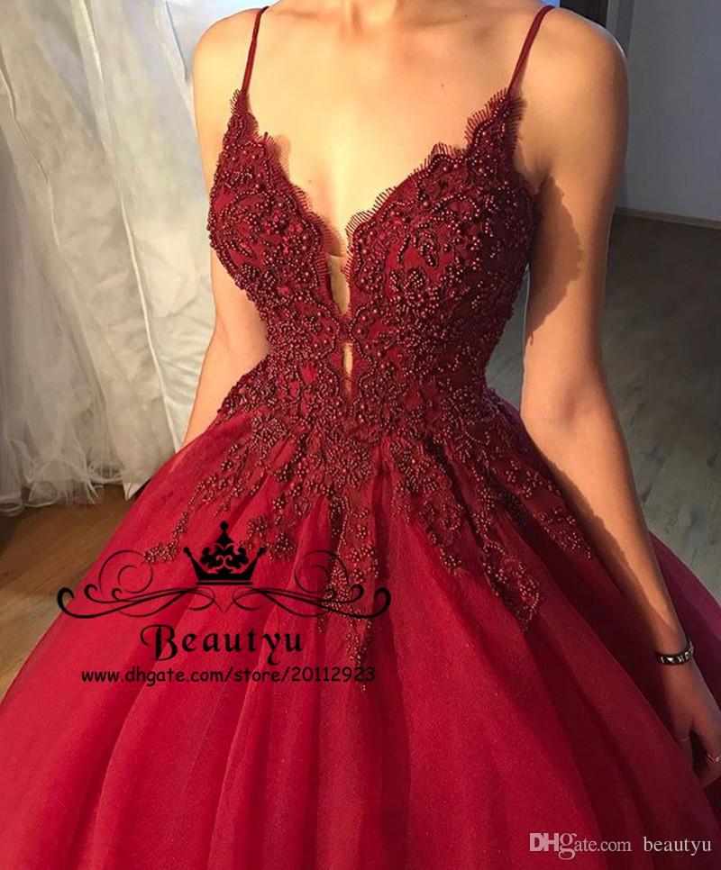 Burgundy Tulle Prom Ball Gown Quinceanera Dresses Luxury Beading Spaghetti Straps Sweet 16 Dress 2018 Plus Size Masquerade Vestido De Novia