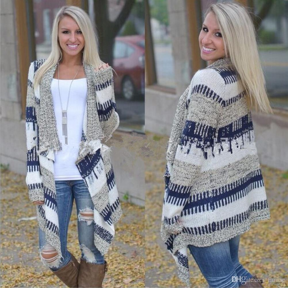 2018 Wholesale Women Long Sleeve Hand Knitted Striped Cardigan ...