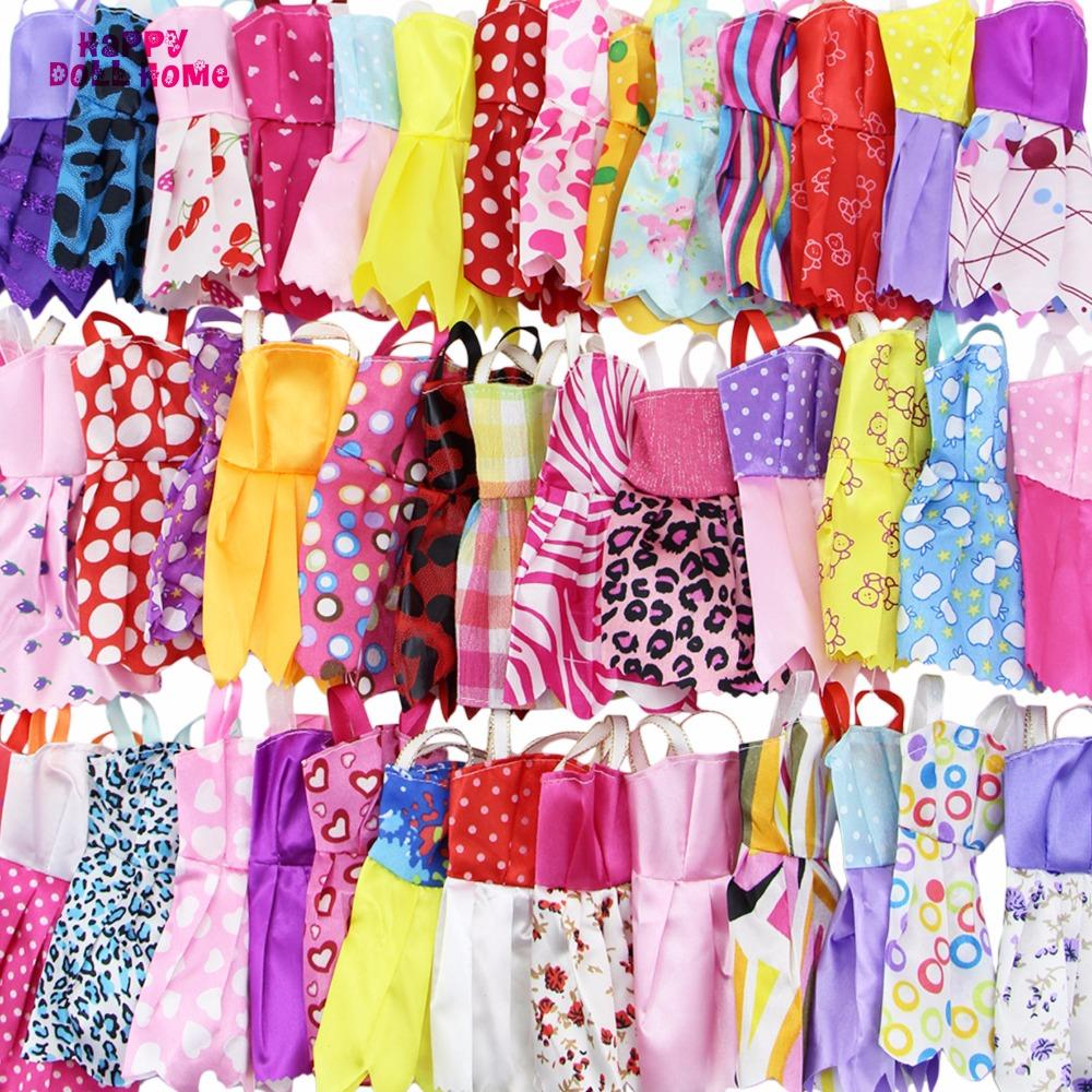 = 12 x Handmade Mini Dress Doll Clothes Short Skirt + 12 x Shoes High Heels Dollhouse Accessories For Barbie Doll Kid Toy