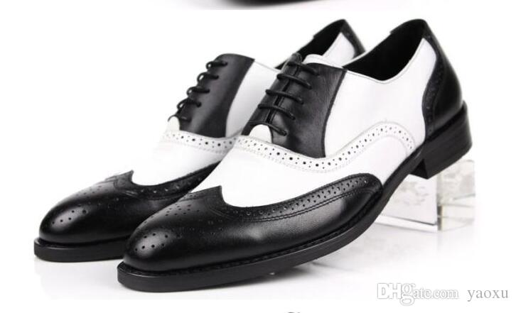 Black and White Mens Shoes Dress Genuine Leather Oxford Shoes For Men Casual Formal Luxury Wingtip Men Brougues Oxfords Shoes