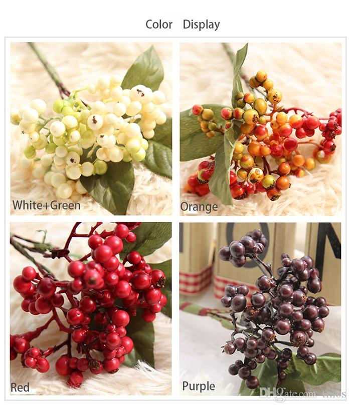 Wholesale artificial plastic berry fruits plants bouquets fake flower fruits plants for wedding home bedding set table decoration