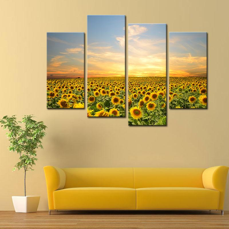 Good 2018 4 Panels Sunflowers Canvas Paintings Landscape Pictures Paintings On  Canvas Flower Wall Art For Home Decoration With Wooden Framed From ...