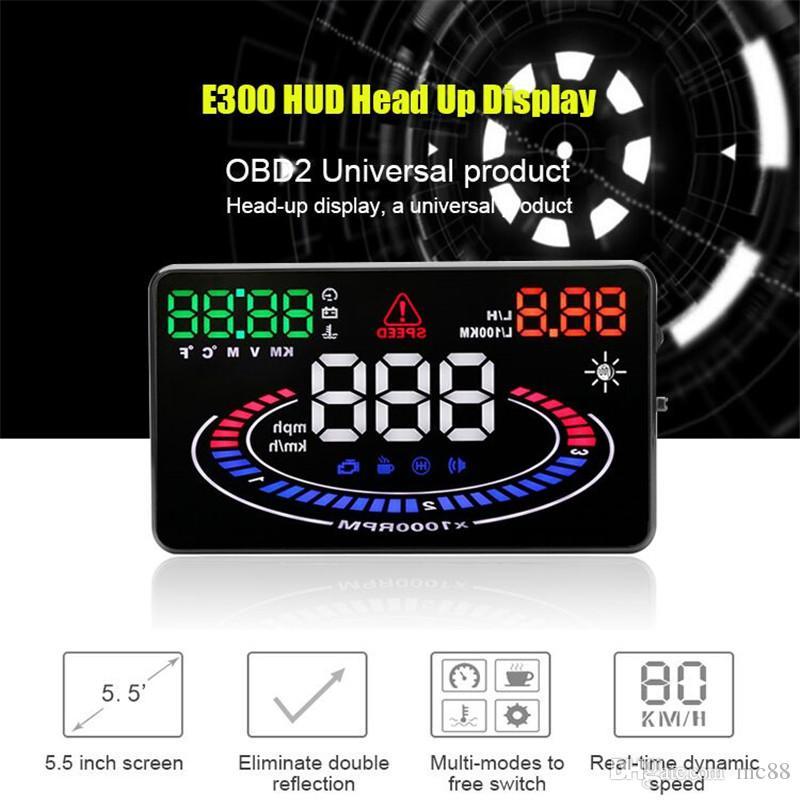 Novo carro OBDII HUD Head Up Display falha do motor de falha de código de eliminação de alarme 2D Vision Reflexão E300 Versão de Atualização 5.5 polegadas