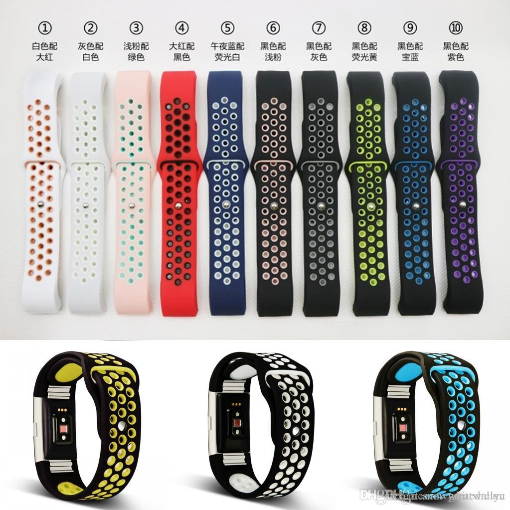 For Fitbit Charge 2 Band Hole Loops Double Color Replacement Strap