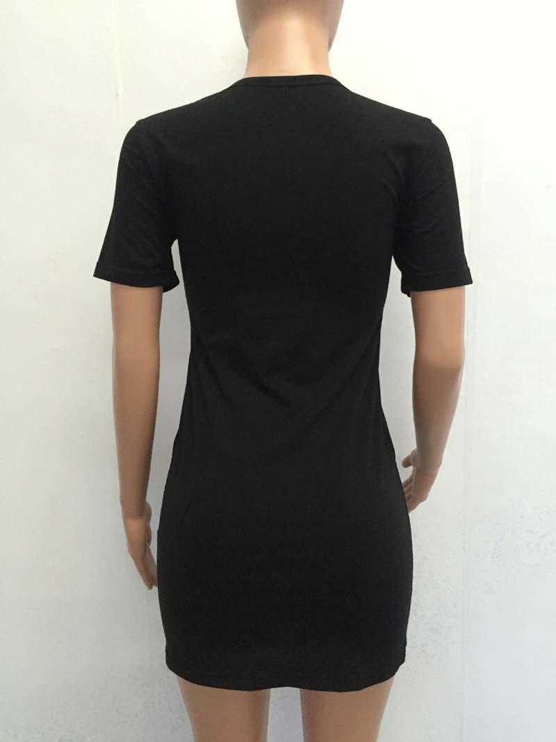 Women Summer Dress party dresses Black Graphic eagle Print Cut Out O Neck Tee Dress Ladies Short Sleeve Shift hollow bandageT-shirt Dress