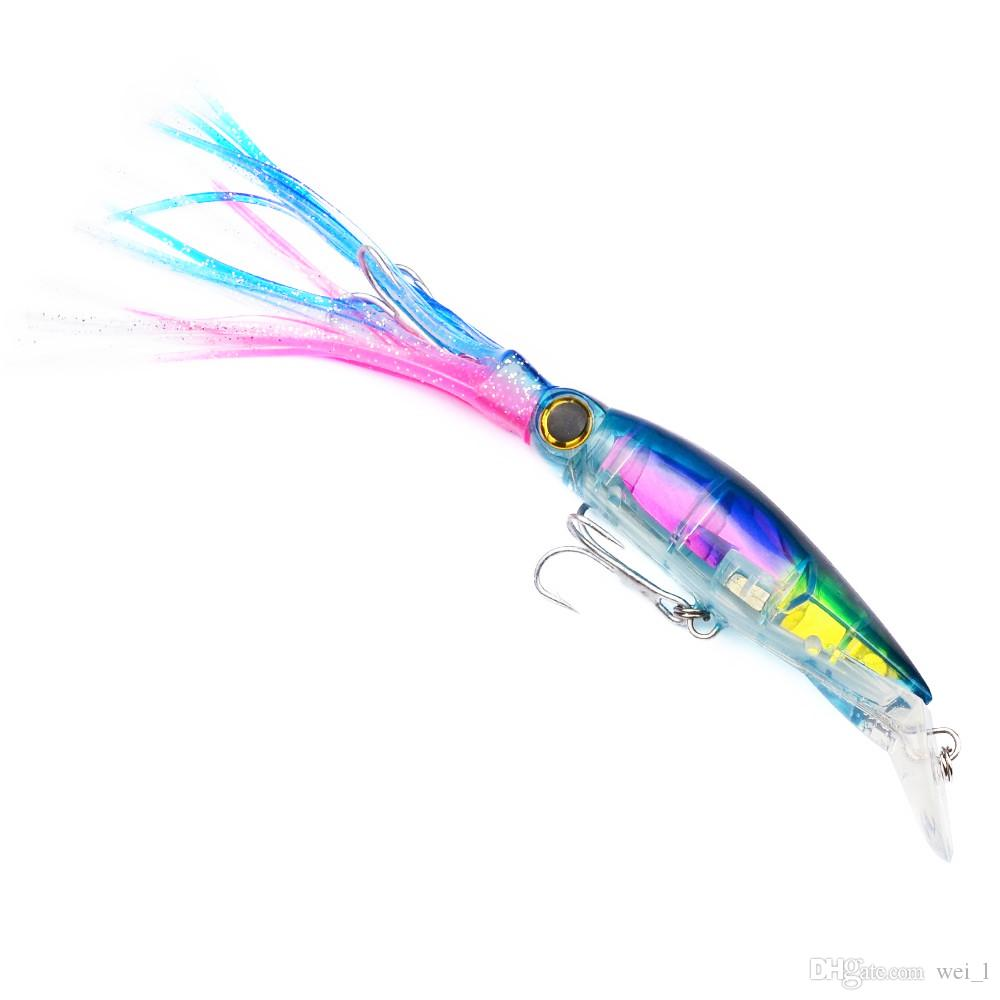 6 couleurs 14cm 44g calmar en plastique appâts dur leurres hameçons 1/0 # crochet appâts artificiels Pesca accessoires de pêche