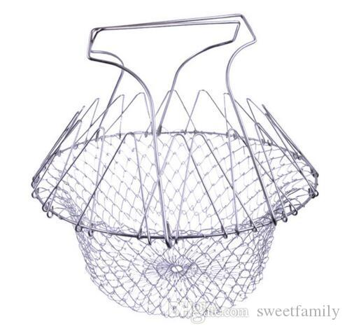 Foldable Steam Rinse Strain Fry Chef Basket Strainer Net Kitchen Cooking Tool