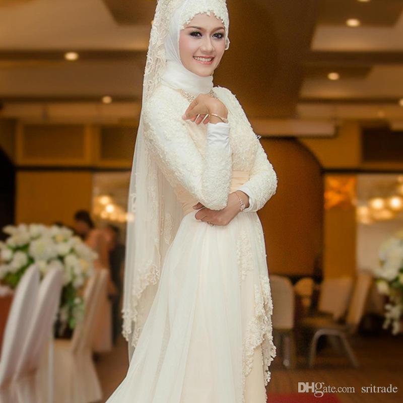 Arabic Muslim Wedding Dress With Long Trail Luxury Full Sleeves Woman Muslim Veil Wedding Dresses Robe De Mariage