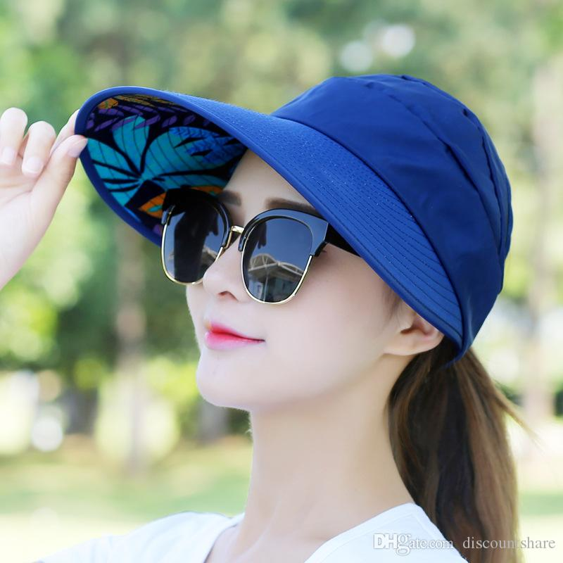 Outdoor Sport Fashion Girl Lady Beach Sun Visor Anti UV Large Wide Brim Hat  Capp Knit Hats Bailey Hats From Discountshare e9872aea3fea