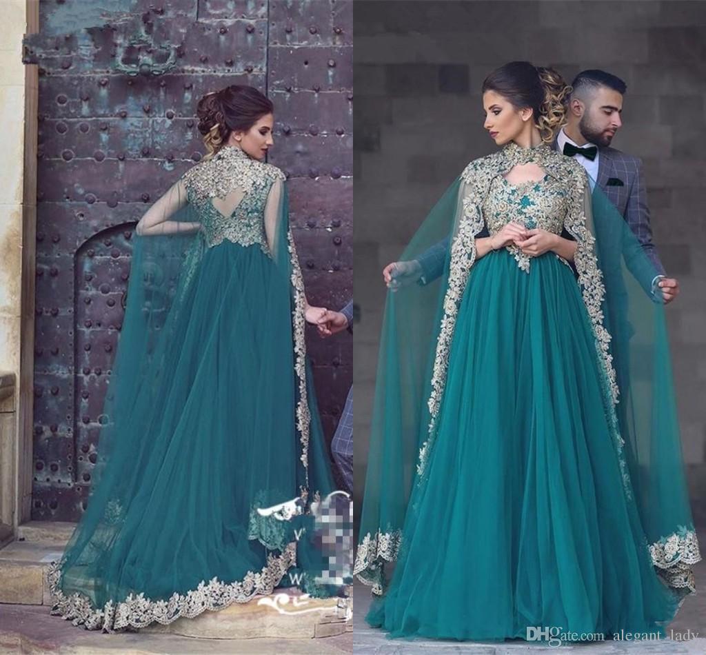 Abayas Kaftan Muslim Caped Long Evening Gowns 2017 A Line High Neck ...