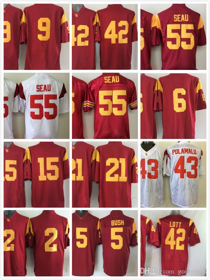 best service c3400 e08ad usc trojans 55 junior seau red jersey