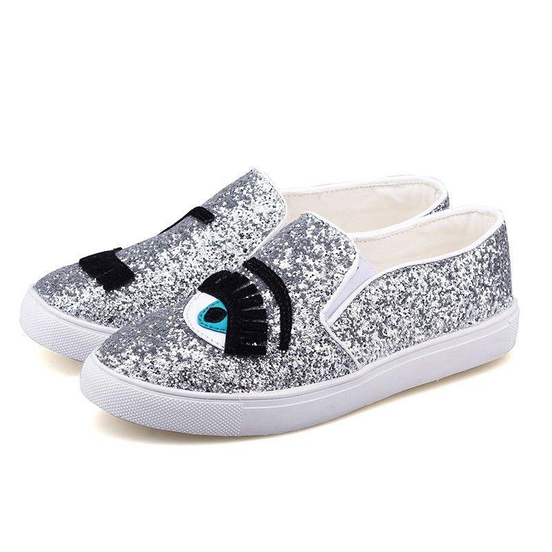 2016 Chiara Ferragni Flats Round Toe Zapatos Mujer Glitter Eyelash Flat  Espadrilles Blink Eye Flat Shoes Womens Lazy Loafers Flat Shoes Womens Lazy  Loafers ...