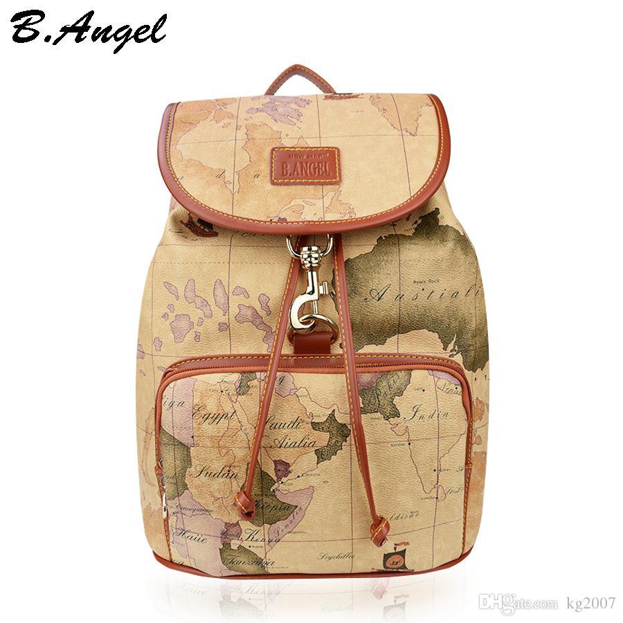 Designer Backpack Women High Quality World Map Backpack Leather Men
