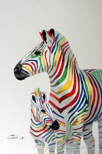 Framed Mother Horse Zebra & Colt Modern Pop Art Colorful Stripes ...