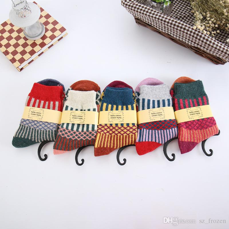 5 Styles Wool Socks Women Winter Thermal Warm Socks Female Crew Fashion Colorful Thick Socks Ladies Casual National style Sock