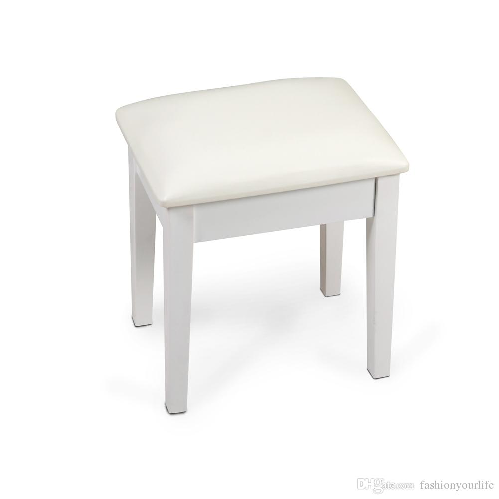 Vanity Stool Dressing Stool With Cushion And Solid Legs Dressing Chair White