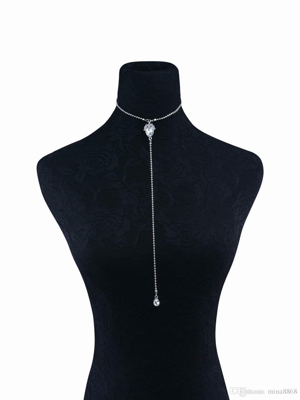 Klassischer Entwurfs-Frauen-mehrschichtige Kristallwulstige Halsketten-lange Kettencharme-hängende Halskettenfrauen Kragen-Halsband-Geschenke wholesale freies Verschiffen