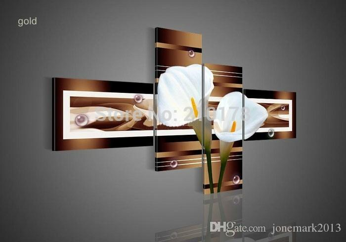 hand-painted wall art black Pure white lilies home decoration Landscape oil painting on canvas