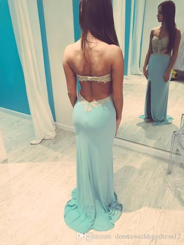 Sexy Hot fixiert Baby Blue Abendkleid Backless Sweetheart Ausschnitt Sparkly Golden Applikationen Chiffon Seitenschlitz Mermaid Prom Dress