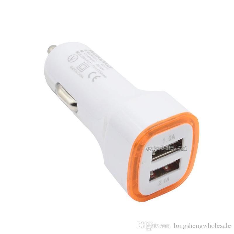 LED universel double USB Chargeur allume-cigare du véhicule NOKOKO Adaptateur Portable 5V 2.1A pour iPhone X Samsung S8 Note 8 avec le paquet OPP