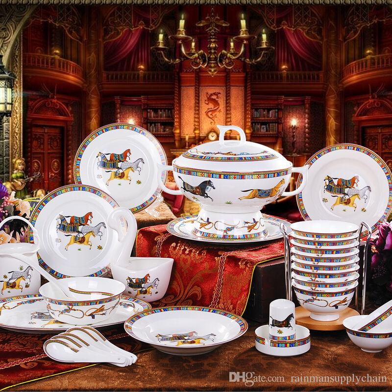 Tableware Sets Korean Ceramics The Edge Of The Gold Horse Tableware Glass Dinnerware Sets Clearance Gold Dinnerware Sets From Rainmansupplychain ... & Tableware Sets Korean Ceramics The Edge Of The Gold Horse Tableware ...