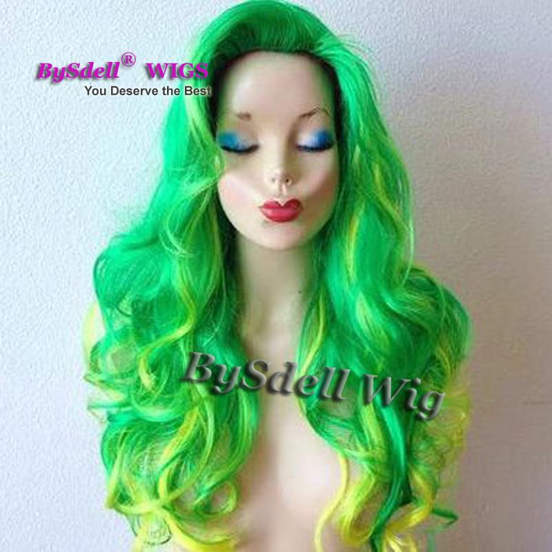 Hot Sale Halloween Cosplay Wig Celebrity Lady Gaga Long Wavy Green Highlight Yellow Color Hair Wig Synthetic Cosplay Party Wigs
