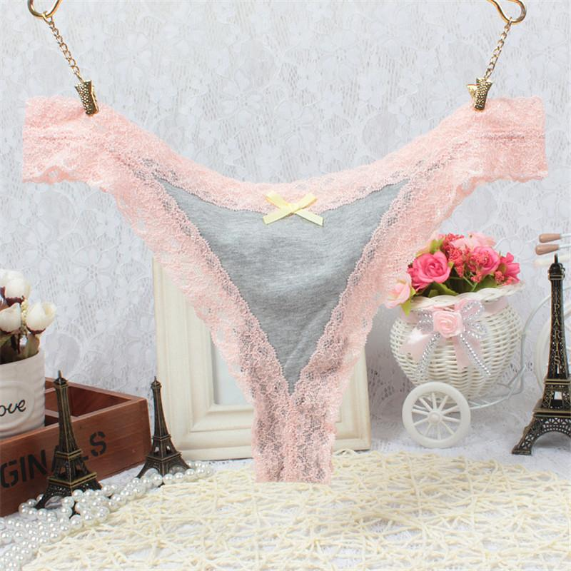 Stylish 2016 women COTTON Diamond Lace Girl G-String V-string knicker Sexy panties t-back Lingerie lure thong for Lady
