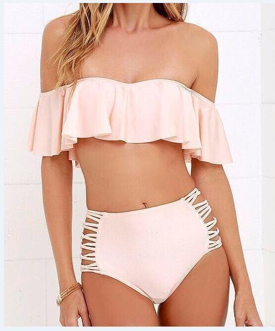 2017 Soild Sexy Falbala Bandeau Bikini Swimwear Swimsuit Women High Waist Bikini Set Bathing Suits