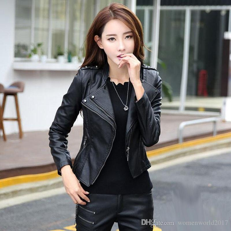 db96a41974 2017 New Fashion Spring Autumn Faux Soft Leather Jackets For Women Pu Black  Blazer Zippers Plus Size Women Motorcycle Jacket Jacket Dress Casual Jacket  From ...