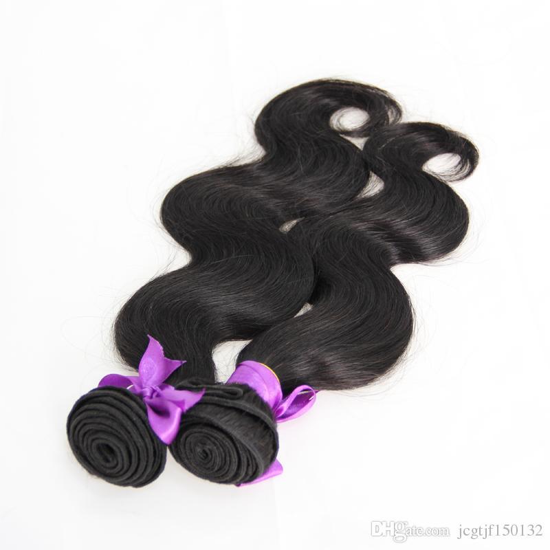 Não Transformados Onda Do Corpo Do Cabelo Brasileiro Virgem extensões de cabelo humano Natural Preto 200g tecelagem cabelo brasileiro, nenhum derramamento, emaranhado livre