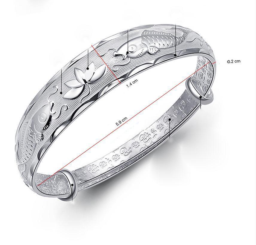 Мода лето стиль стерлингового серебра ювелирные изделия 925 серебряный браслет. Рельеф двойной рыбы лотоса регулируемые браслеты для женщин