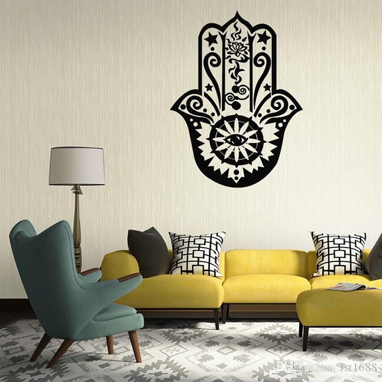 9382 Art Home Decor Hand Decal Vinyl Fatima Yoga Vibes 3D Wall Sticker Fish Eye Decals Indian Buddha Lotus Pattern Mural