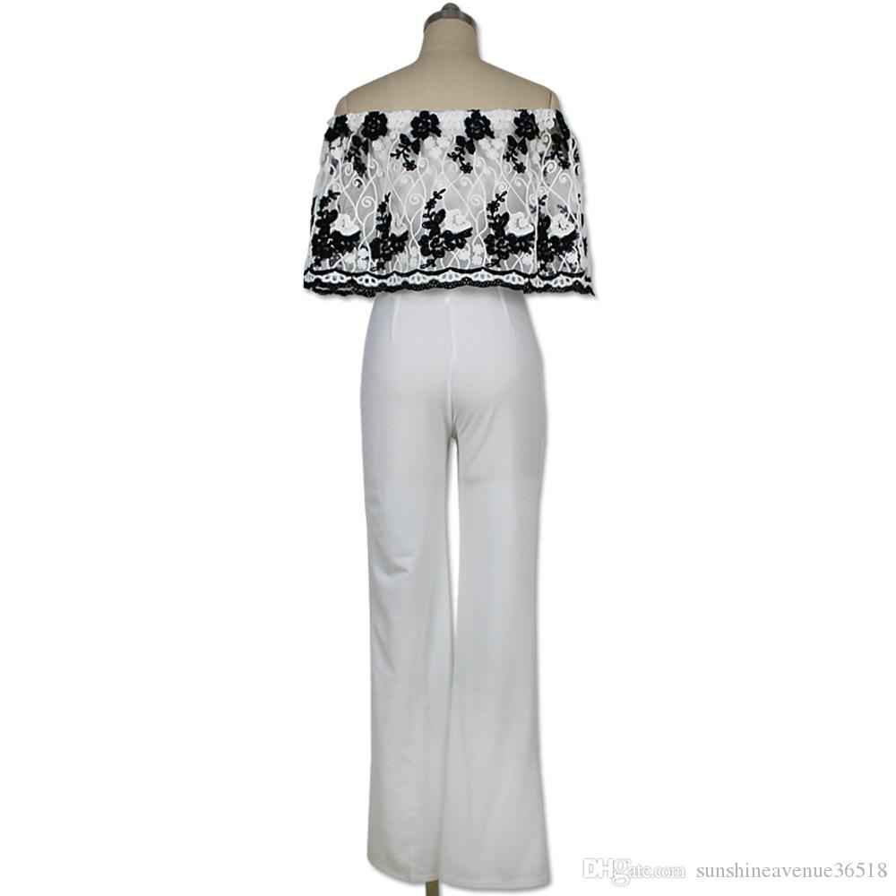 Fashion Strapless Floral Pattern Loose Women Jumpsuit Embroidery Flowers Top White Long Pants Ladies Romper