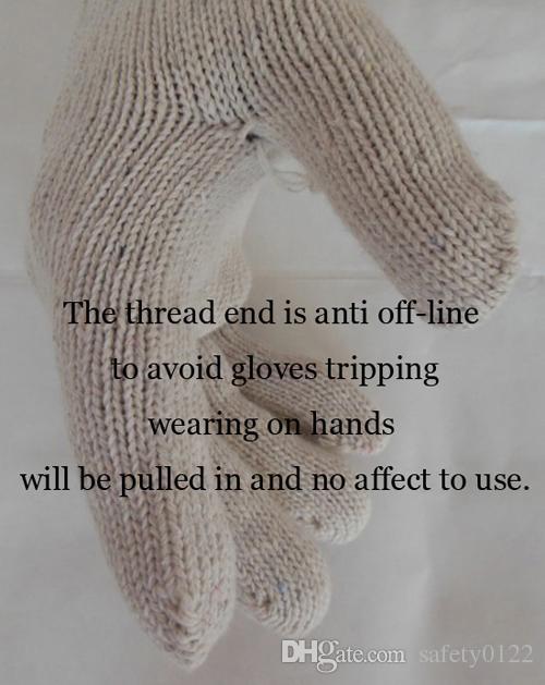 Export Standard Cotton Glove 7 Gauge White Cotton Knit Cuffs Protective Common Working Glove Daily Safety Glove