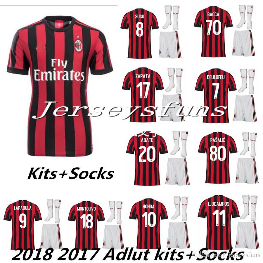 7d995c1a906 ... 2017 2018 AC Milan Adults Home Soccer Jersey Men Kit + Sock Milan MENEZ  BACCA KAKA ...