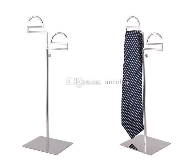 Krawatte Display Ständer Edelstahl Damen Seidenschal Halter Herren Krawatten Schals Doppelhaken Display Ständer Ständer für Kleidung Stütze