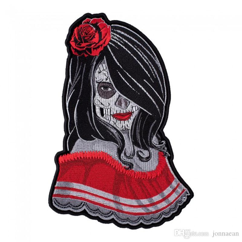 Güzel Moda Gül Lady Şeker Kafatası Temptress Yama Ölü Işlemeli Yamalar Ücretsiz Kargo