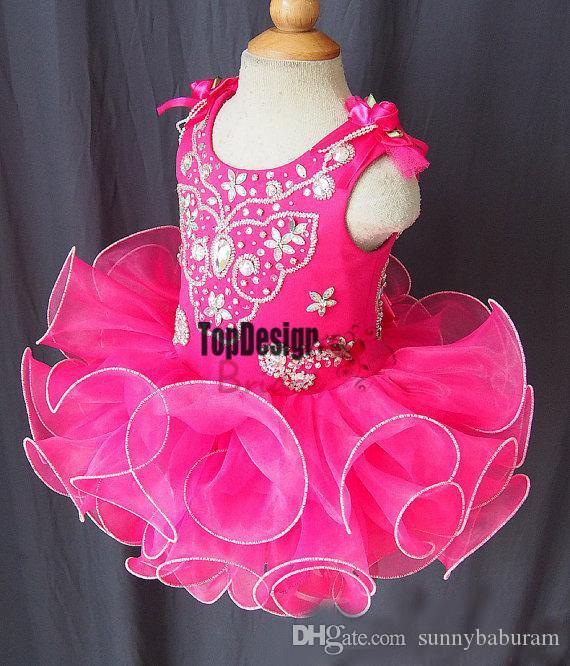 Wholesale New 2017 Scoop bow beads band made flower fuchsia backless cheap cupcake little girls pageant dresses kids toddler ball Gown