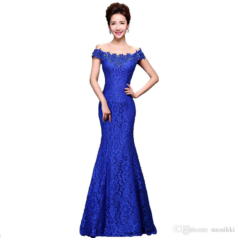 2017 Cheap Elegant Mermaid Red Long Lace Evening Dresses Off the Shoulder  Embroidery Formal Evening Gowns Cheongsam Prom Dress Mermaid Evening Dress  Long ... ae15c56550b7