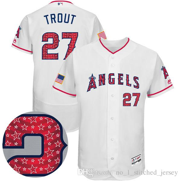 9fb4b5e93 ... Los Angeles Angels of Anaheim Baseball Jersey 27 Mike Trout 2017 Stars  And Stripes Majestic Scarlet Mens Cool ...
