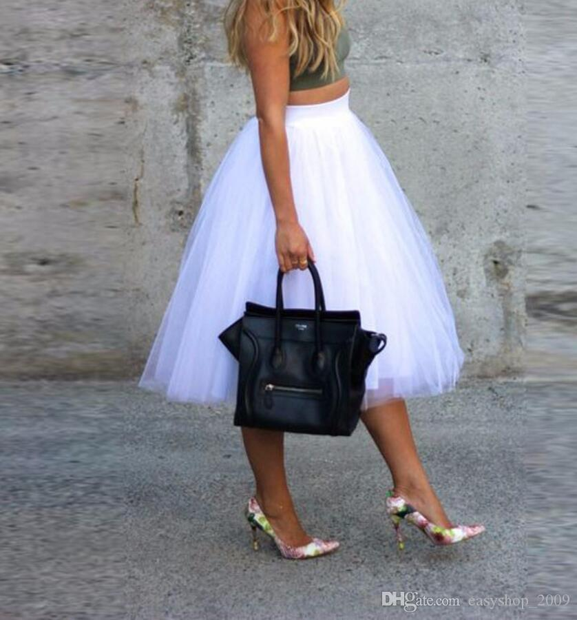 Pure White Tutu Skirt Midi Skirt Simple style Womens friends party shopping woman skirt top custom Leg length