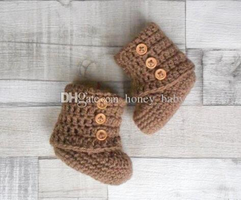Crochet baby boys girls knitted snow booties newborn infant toddlers prewalker first walker shoes indoor soft flattie booties cotton yarn