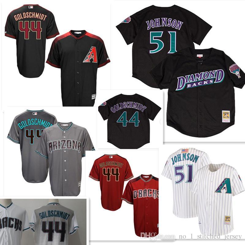 30d51017a ... Stitched MLB Jersey Arizona Diamondbacks 51 Randy Johnson Jersey Mens  44 Paul Goldschmidt Baseball Jerseys Diamondbacks Vintage Red Black ...